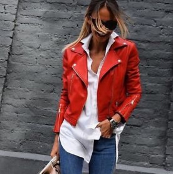 bce14aa2479d Zara Jackets & Coats | Red Faux Leather Biker Jacket | Poshmark